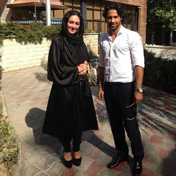 فرهاد مجیدی در کنار الهام حمیدی در ویلای شمال/عکس