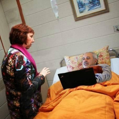 عیادت کاترین اشتون از جواد ظریف در بیمارستان/عکس