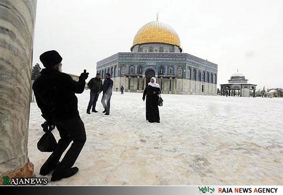 مسجد الاقصی در زیر برف | تصاویر