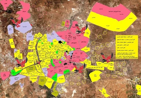 مناطق تحت تصرف ارتش سوریه و تکفیری ها+نقشه