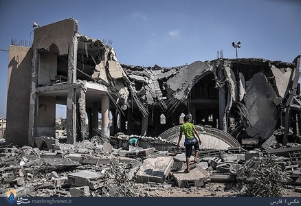 بمباران مسجد علی بن ابیطالب در جنوب غزه+تصاویر