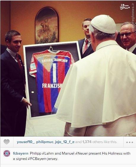 دیدار بایرن مونیخ با پاپ پس از پیروزی پرگل+عکس