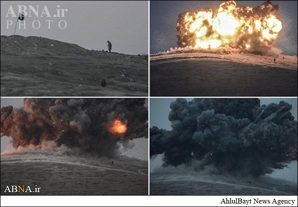 لحظه اصابت موشک در کنار دو تکفیری داعش + تصاویر