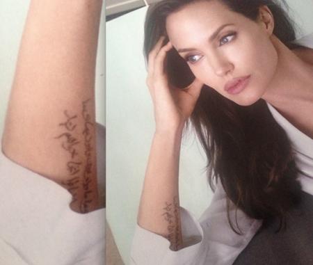 متن فارسی خالکوبی شده روی دست آنجلینا جولی+تصویر