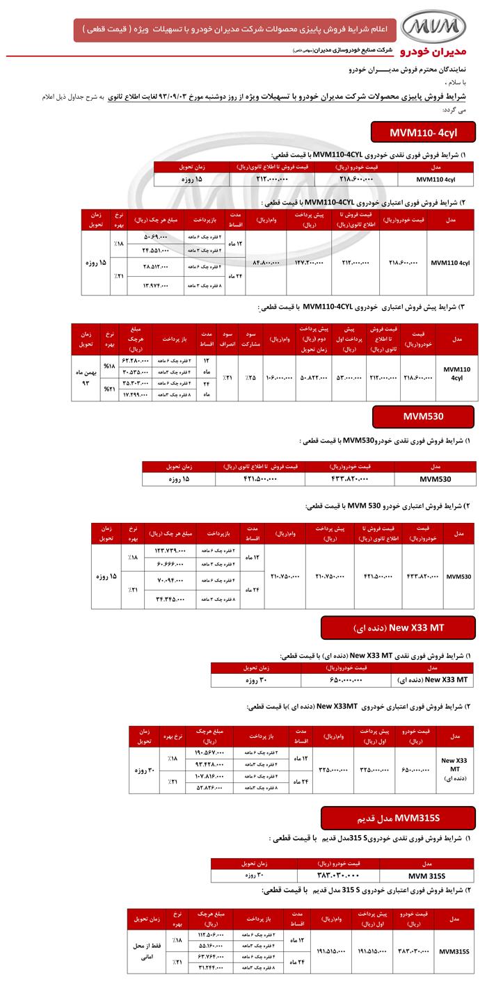 فروش پاییزی خودروهای مدیران خودرو MVM با شرایط ویژه