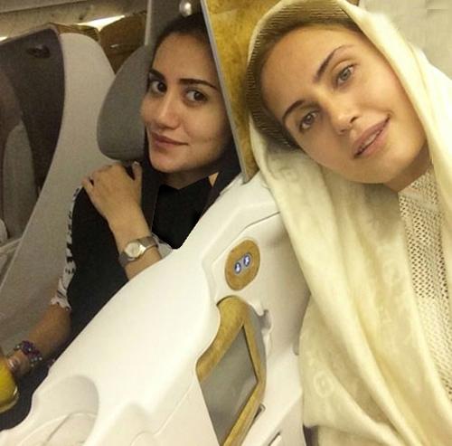 الناز شاکردوست و خواهرش در کابین فرست کلاس هواپیما/عکس
