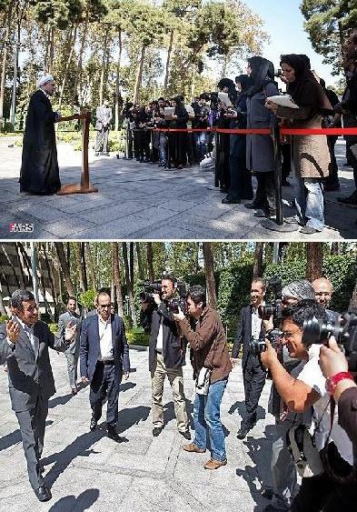 فرق نحوه برخورد احمدی نژاد و روحانی با خبرنگاران +عکس
