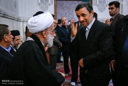 احمدی نژاد در مراسم ختم همسر آیت الله جنتی +عکس