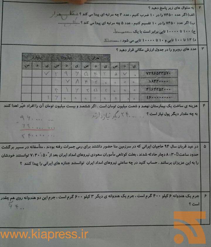 سوال ریاضی امتحان کلاس پنجمی ها درباره حادثه منا! +عکس