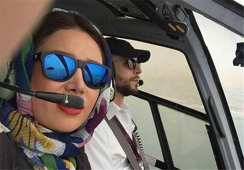 سلفی بهاره افشاری در کنار کاپیتان هواپیما + عکس