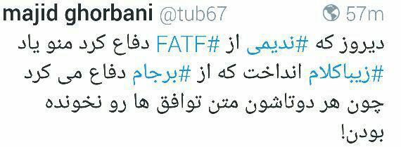 مسلط نبودن ندیمی بر قرارداد FATF سوژه کاربران شبکه های اجتماعی شد!